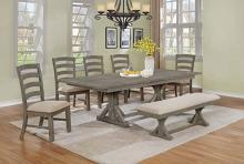 D22-7PC 7 pc One allium way trixie antique gray finish wood double pedestal dining table set