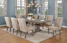 D22-8D25SC 9 pc One allium way trixie antique gray finish wood double pedestal dining table set