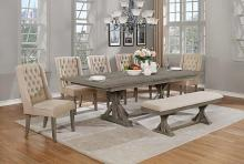 D22-B-5D25SC 7 pc One allium way trixie antique gray finish wood double pedestal dining table set
