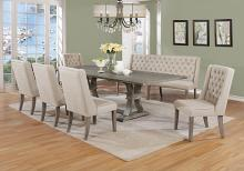 Best Quality D25-7PC 7 pc Gracie oaks desjardins denville antique rustic grey finish wood dining table set