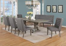 Best Quality D25-7PC-GY 7 pc Sania denville antique rustic grey finish wood dining table set grey chairs