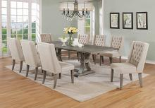 Best Quality D25-9PC 9 pc Gracie oaks desjardins denville antique rustic grey finish wood dining table set