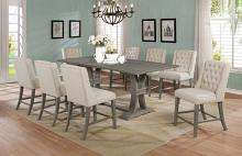 D27-9PC 9 pc Gracie oaks desjardins denville antique rustic grey finish wood counter height dining table set