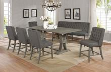 D28-7PC 7 pc Gracie oaks desjardins denville antique rustic grey finish wood counter height dining table set
