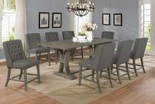 D28-9PC 9 pc Gracie oaks desjardins denville antique rustic grey finish wood counter height dining table set
