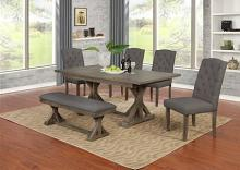 D300-6PC-GY 6 pc Gracie oaks clarissa antique rustic grey finish wood dining table set with bench