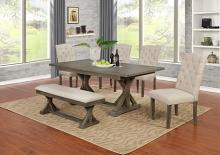 D303-6PC-BG 6 pc Gracie oaks clarissa antique rustic grey finish wood dining table set with bench