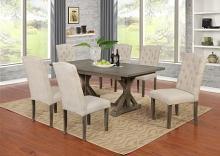 D303-7PC-BG 7 pc Gracie oaks clarissa antique rustic grey finish wood dining table set