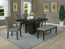 D316-6PC 6 pc Darby home co lona rustic dark oak finish wood storage pedestal dining table set with bench