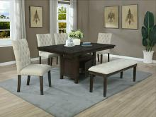 D317-6PC 6 pc Darby home co lona rustic dark oak finish wood storage pedestal dining table set with bench