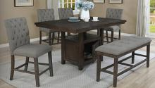 D318-6PC 6 pc Darby home co lona rustic dark oak finish wood storage pedestal counter height dining table set with bench