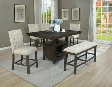 D319-6PC 6 pc Darby home co lona rustic dark oak finish wood storage pedestal counter height dining table set with bench