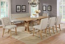 Best Quality D39-7PC 7 pc Gracie oaks denville antique natural finish wood counter height dining table set