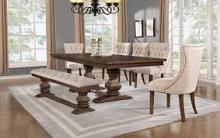 D42-7PC-Bn 7 pc One allium way toledo antique rustic walnut finish wood dining table set
