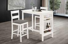 D502 3 pc Canora grey traci white finish wood counter height dining table set