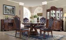 "Mc Ferran D527-6060 5 pc Astoria grand mcquaig dark brown two tone finish wood 60"" round dining table set carved back chairs"