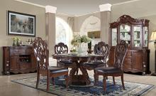"Mc Ferran D528-6060 5 pc Astoria grand mcquaig dark brown two tone finish wood 60"" round dining table set carved back chairs"
