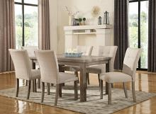 Mc Ferran MF-D708-7PC 7 pc Gracie oaks robb hand rub weathered grey finish wood dining table set