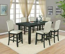 D71-7PC 7 pc Darby home co lona rustic dark oak finish wood counter height dining table set with leaf