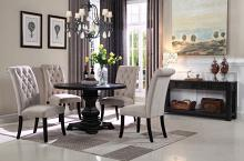 "Mc Ferran MF-D7700-4848-5PC 5 pc Nerina black finish wood 48"" round dining table set"