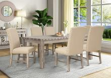 Mc Ferran MF-D809-7PC 7 pc Gracie oak mach weathered natural finish wood dining table set cream chairs