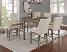 D874-7PC 7 pc Red barrel studio kolar hurley rustic grey finish wood triangular shaped counter height dining table set