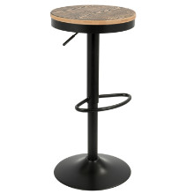 Dakota Height Adjustable Contemporary Barstool with Swivel in Black