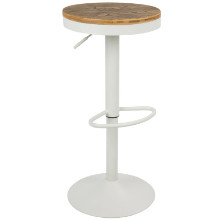 Lumisource BS-TW-DAK-W Dakota Height Adjustable Contemporary Barstool with Swivel in White