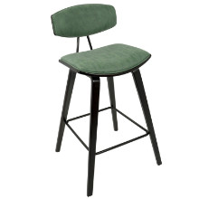 "Damato 26"" Mid-Century Modern Counter Stool in Espresso with Green Fabric  - Set of 2"