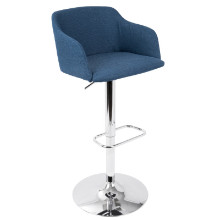 Daniella Contemporary Height Adjustable Barstool In Blue with Swivel