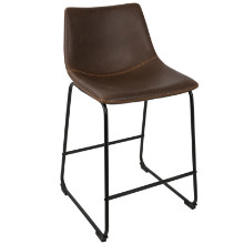 "Duke Industrial 26"" Counter Stool+ in Black and Espresso with Orange Stitch -Set of 2"