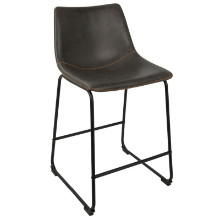 "Duke Industrial 26"" Counter Stool+ in Black and Grey with Orange Stitch -Set of 2"
