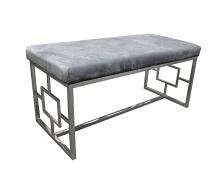 Best Master E00 Stainless steel finish grey velvet bedroom entry bench