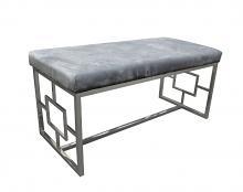 Best Master E00 Stainless steel finish grey velvet bedroom entry bench