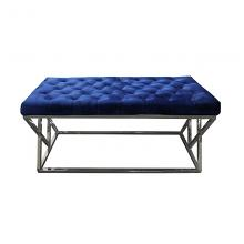 Best Master E11 Stainless steel and blue velvet tufted bedroom entry bench