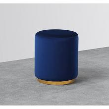 Best Master E34 Dalvik navy blue velour fabric round ottoman footstool with gold trim