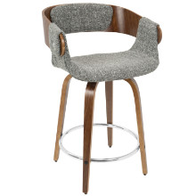 Elisa Mid-Century Modern Counter Stool in Walnut and Grey