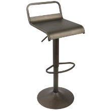 Emery Height Adjustable Contemporary Barstool with Swivel in Antique Finish