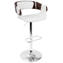 Lumisource BS-ENVI-CH-W Envi Mid-Century Modern Adjustable Barstool in Cherry and White
