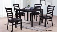 Eva-5PC 5 pc Latitude run cliett norwalk espresso finish wood square dining table set