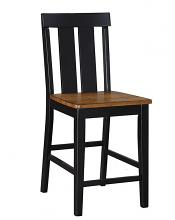 Poundex F1572 Set of 2 bridget i two tone antiqued oak and black finish wood counter height bar chairs