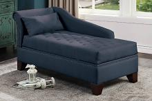 Poundex F1675 Orren ellis drew dark blue polyfiber fabric storage chaise lounger nail head trim