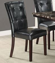 Poundex F1750 Set of 2 Drake black faux leather dining chairs tufted backs