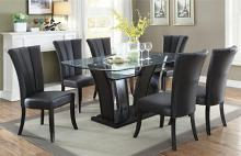 Poundex F2153-1591 7 pc harpers curve dark finish wood dining table set curved base and tempered glass top black chairs