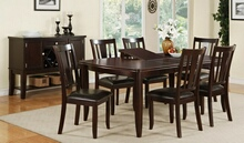 Poundex F2179-1285 7 pc barista ii dark rosy brown wood finish dining table butterfly leaf