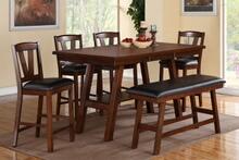 Poundex F2273-1333-1334 6 pc montana dark walnut finish wood counter height dining table set padded seats