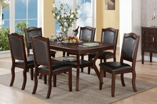 Poundex F2290-1338 7 pc freemont dark espresso finish wood dining table set padded seats