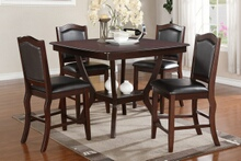 Poundex F2291-1346 5 pc chevalry espresso finish wood square counter height dining table set padded seats