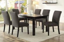 Poundex F2366-1721 7 pc avenue ii espresso finish wood table glass insert and ash black chairs