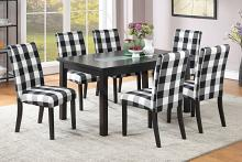 Poundex F2366-1811 7 pc avenue ii espresso finish wood table glass insert and checkered chairs